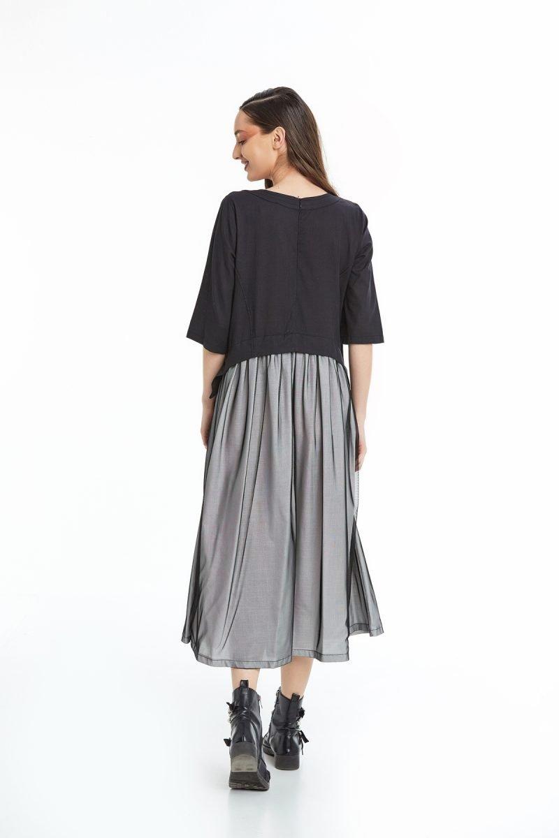 Puantiye Baskılı Rahat Kesim Elbise Siyah Okçu Triko