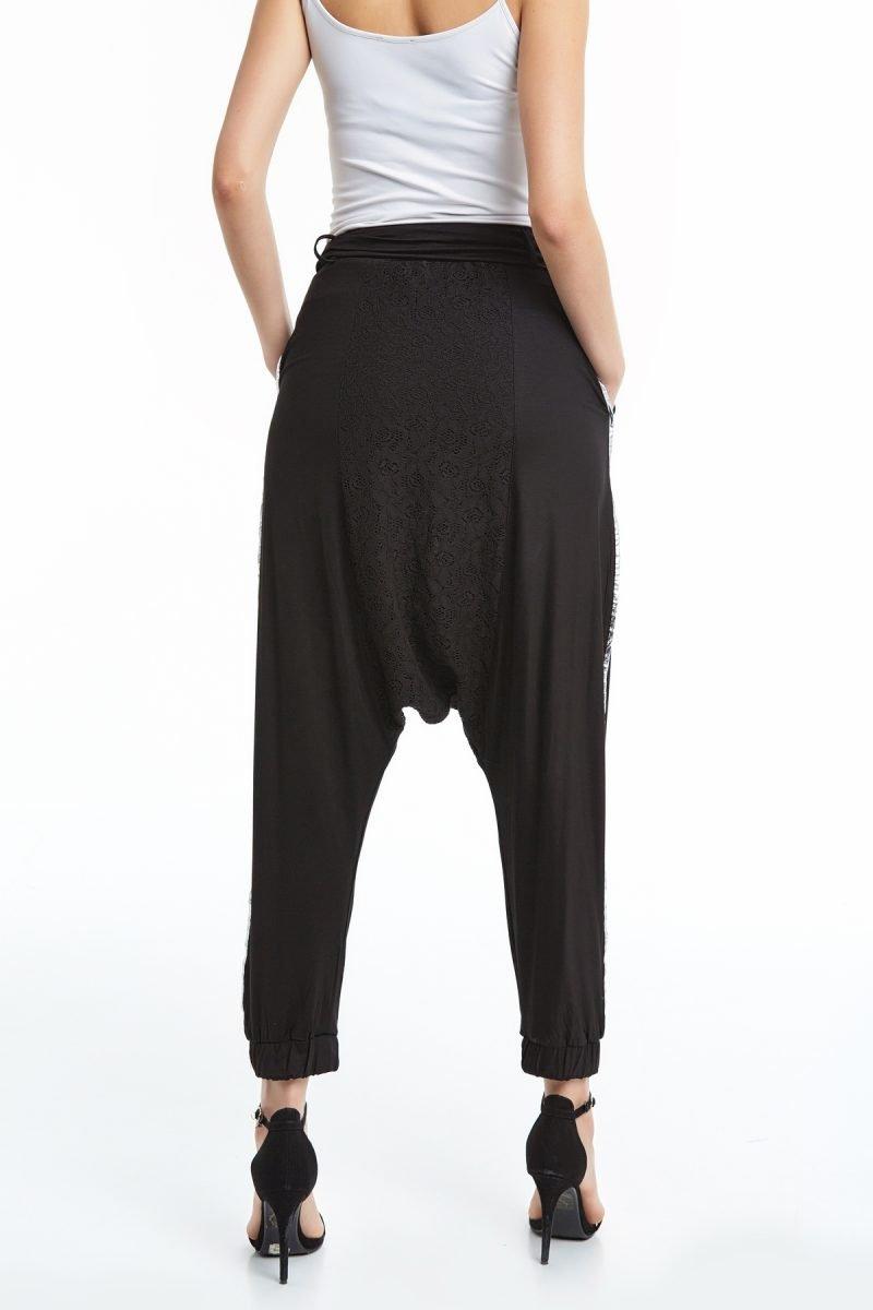 Dantel Detaylı Kemerli Bol Pantolon Siyah Okçu Triko