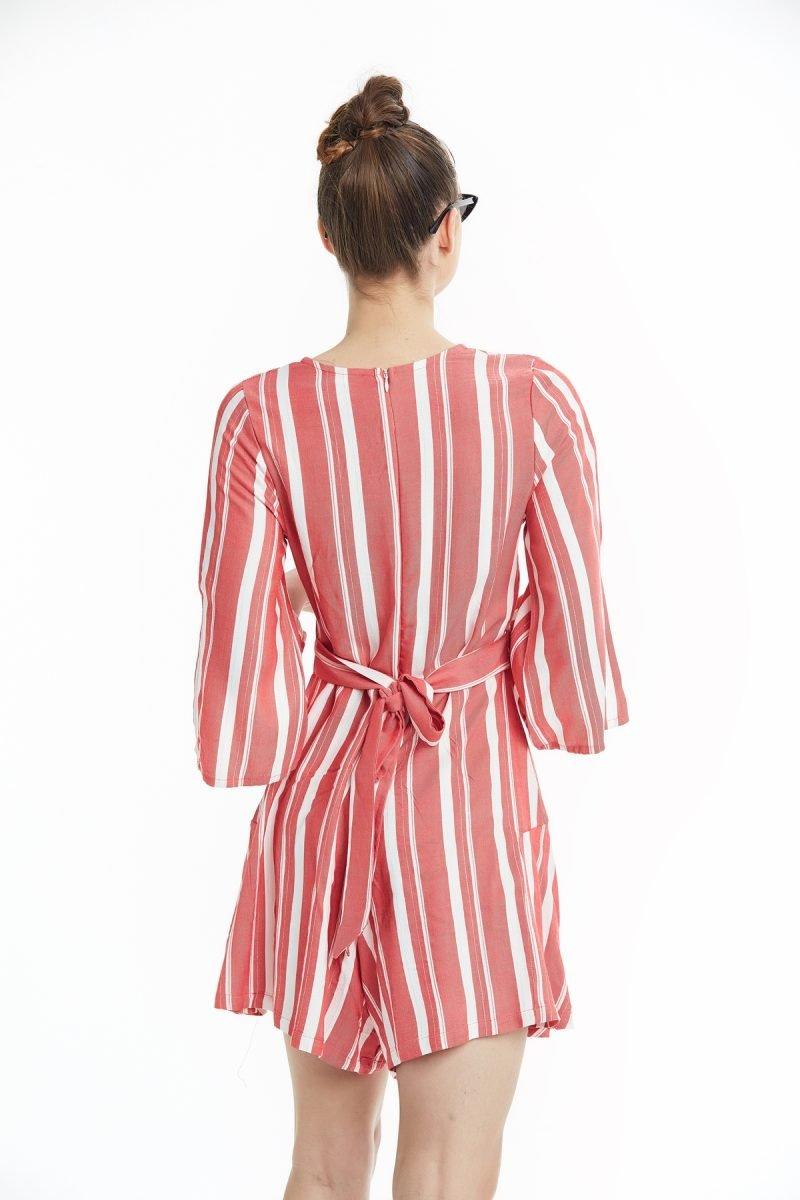 Çizgili Belden Kemerli V Yaka Elbise Kırmızı Okçu Triko